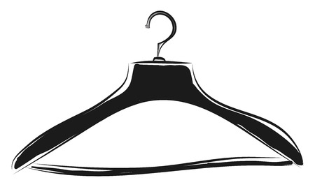 Black coat hanger sketch illustration color vector on white background Illustration