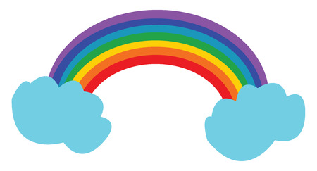 A bright rainbow arch can be seen n between clouds vector color drawing or illustration