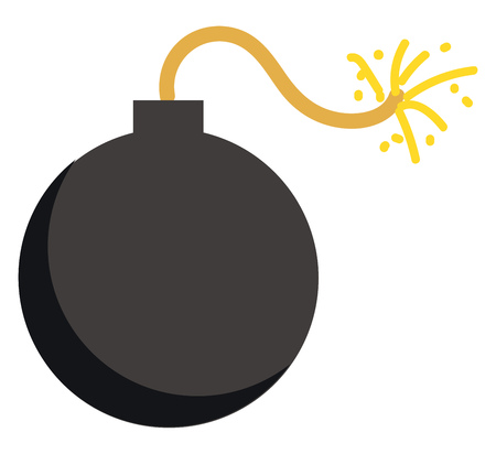 Clipart of a black explosive bomb with strings on fire vector color drawing or illustration