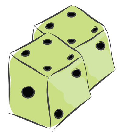 Vector illustration on white background two white dices for games Illusztráció