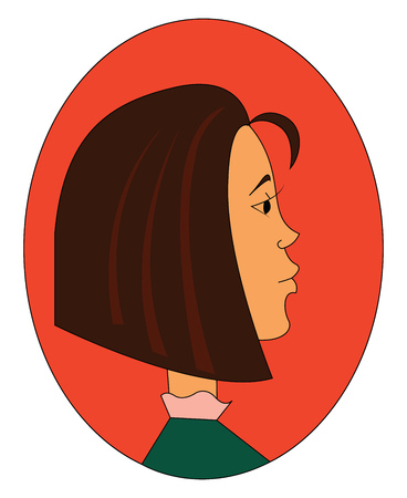 Profile of a girl with brown hair vector illustration in orange eclips on white background Illusztráció