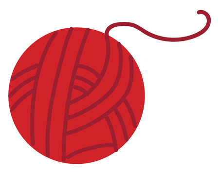 Red ball of yarn illustration color vector on white background