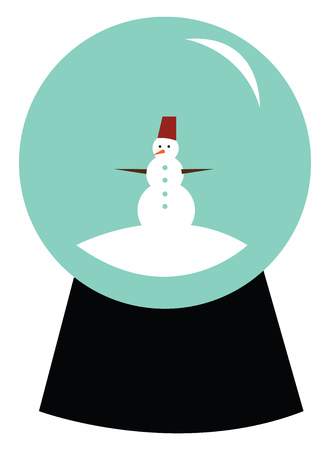 A beautiful snow globe with a cute snow man inside vector color drawing or illustration Illustration