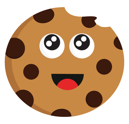 Bitten chocolate biscuit illustration color vector on white background