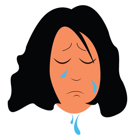 A drawing of a girl who is sad and has tears falling down her face implying that she is crying vector color drawing or illustration Stock Illustratie