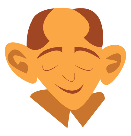 An image of an old man with big ears looking peaceful vector color drawing or illustration Illustration