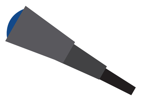 A black telescope with blue lens vector color drawing or illustration