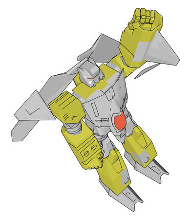 Vector illustration of a grey and yellow robot white background Ilustrace