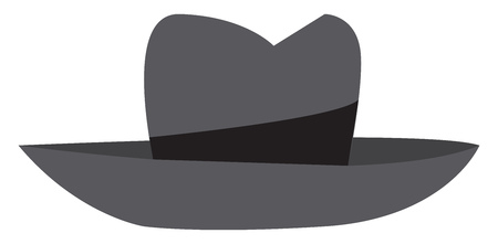 An illustration of a gray and black colored fedora vector color drawing or illustration