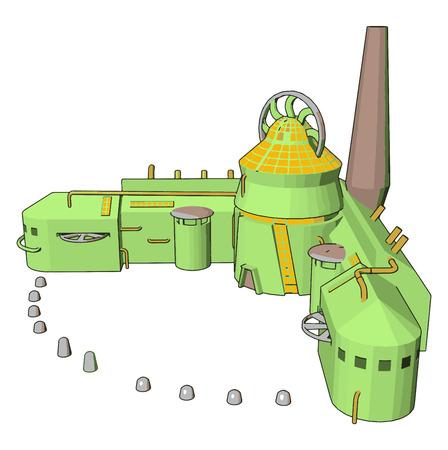 3D vector illustration of a manufacturing building white background Standard-Bild - 123461839