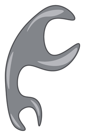 A gray color spanner tool vector color drawing or illustration 일러스트