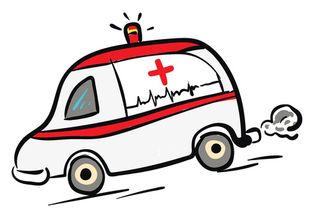 Ambulance car in rush illustration color vector on white background Çizim