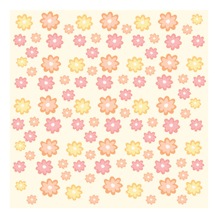 Texture of yellow orange and pink flowers on pale background and white frame Illustration