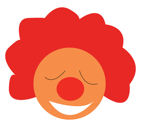 A happy joker with big red nose and red curl hair vector color drawing or illustration