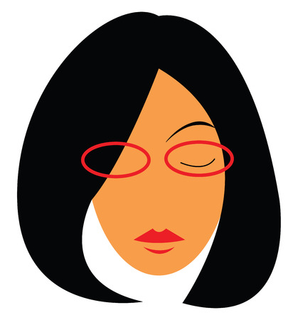 A woman with thick short black hair wearing red rimmed glasses and matching red lipstick Ilustracja