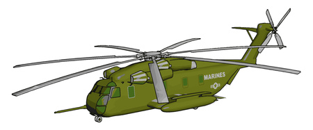 3D vector illustration on white background of a green military helicopter Ilustração