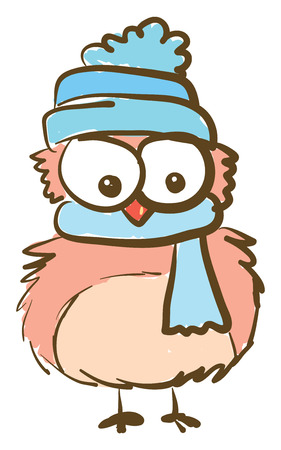 A cartoon of an owl with huge eyes wearing a blue cap and a scarf vector color drawing or illustration Ilustracja