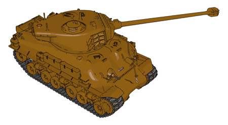 3D vector illustration on white background of a brown military tank Иллюстрация