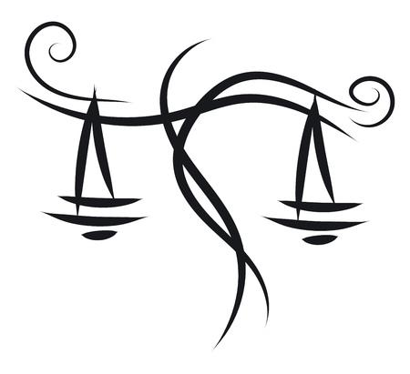Einfache Schwarz-Weiß-Tattoo-Skizze der Waage-Horoskop-Zeichen-Vektor-Illustration Vektorgrafik