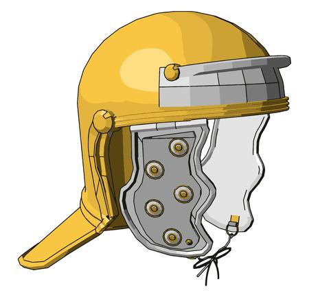 Yellow firefighter helmet vector illustration on white background