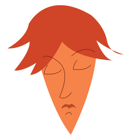 It is an image of a man with brown hair pointed chin whose eyes are closed vector color drawing or illustration Ilustração