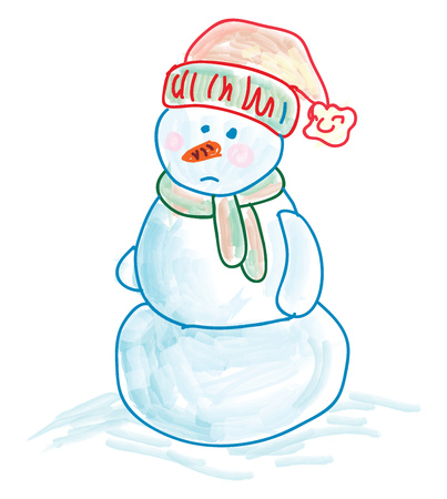 A sketch of a sad snowman wearing stocking hat and a scarf vector color drawing or illustration Çizim