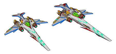 Colorful fantasy battle cruiser vector illustration on white background