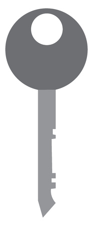 A grey key with round end vector color drawing or illustration