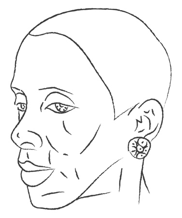 A sketch of a woman with huge lips wearing earrings vector color drawing or illustration