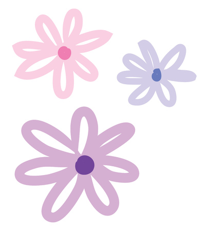 A doodle of several flowers vector color drawing or illustration