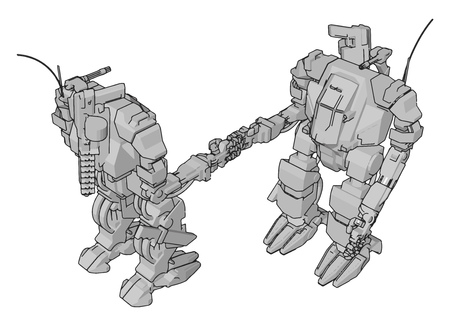 Simple vector illustration of two grey robots shaking hands 일러스트
