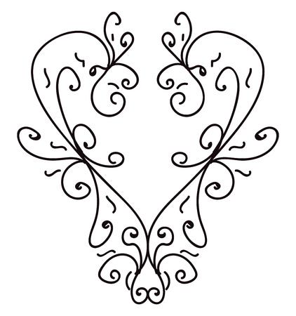 A minimalistic line art depicting a heart 일러스트