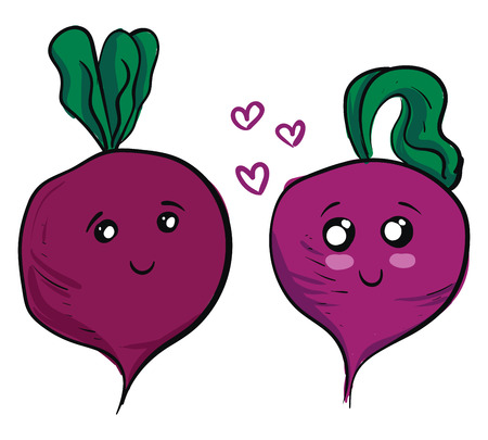 Two cute purple beets in love vector illustration on white background