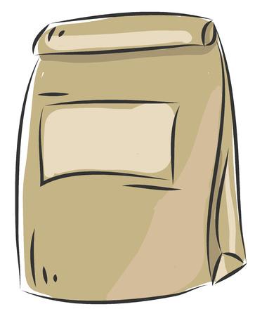 Simple beige paperbag vector illustration on white background
