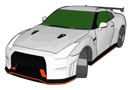 White race car with green windows and orange detailes and grey rear spoiler vector illustration on white background