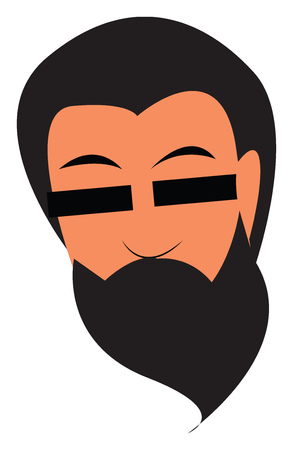 An image of a man with long beard wearing rectangular sunglasses vector color drawing or illustration