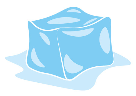 An image of a melting ice cube vector color drawing or illustration Stock Illustratie