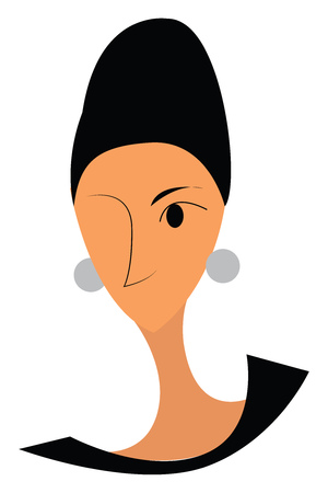 A one eyed lady wearing a silver earrings and hair tied up neatly vector color drawing or illustration 일러스트