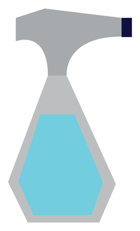 A transparent spray bottle with blue liquid inside vector color drawing or illustration Ilustrace