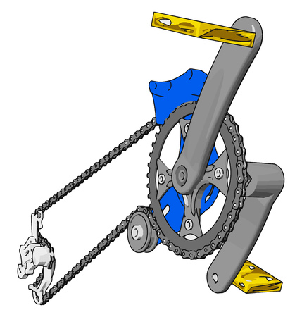 Jeu de manivelles grises pour vélo avec illustration vectorielle de pédales jaunes sur fond blanc