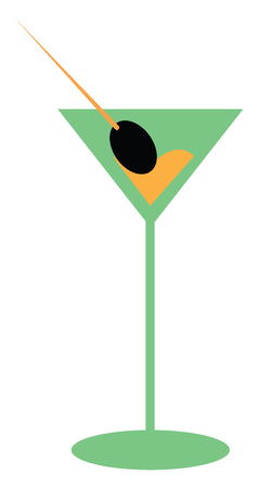 A tall mocktail glass containing an olive and a beverage vector color drawing or illustration Иллюстрация