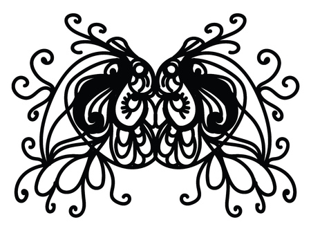 A well designed mask with black curls vector color drawing or illustration