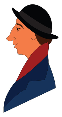 Profile picture of a man in blue coat  red scarf and black hat vector illustration