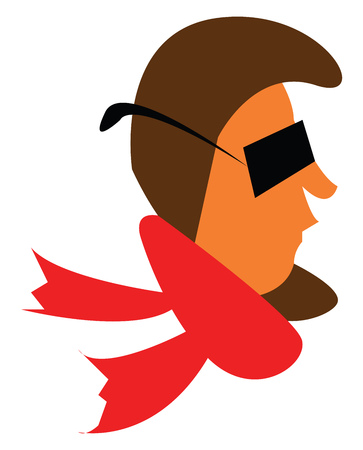 A man wearing black rectangular sunglasses and a red muffler vector color drawing or illustration