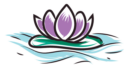 Light purple lotus on water vector illustration on white background