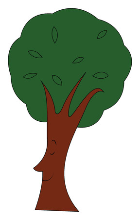 Treetop with leaves illustration print vector on white background