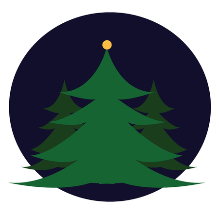 A drawing of many christmas trees during the time of night vector color drawing or illustration