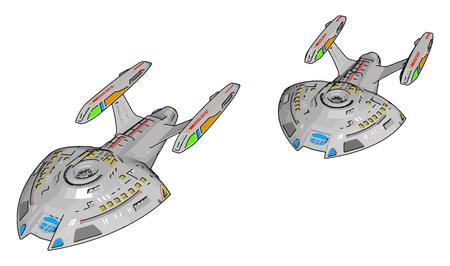 Colorful fantasy battle ship vector illustration on white background 向量圖像