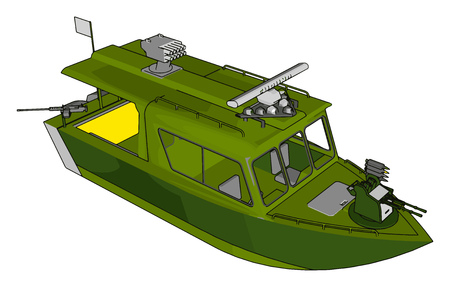 3D vector illustration on white background of a grey and green military boat Foto de archivo - 123461955