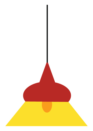 A bowl shaped hanging lamp whose bulb is switched on vector color drawing or illustration